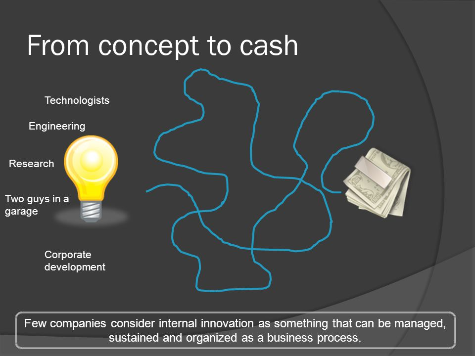 From concept to cash Technologists Corporate development Two guys in a garage Few companies consider internal innovation as something that can be mana