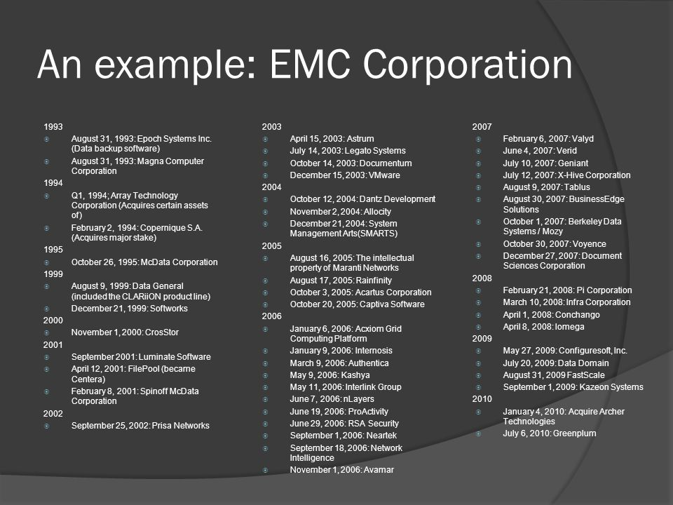 An example: EMC Corporation 1993  August 31, 1993: Epoch Systems Inc. (Data backup software)  August 31, 1993: Magna Computer Corporation 1994  Q1,
