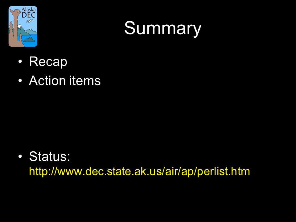 Summary Recap Action items Status: http://www.dec.state.ak.us/air/ap/perlist.htm