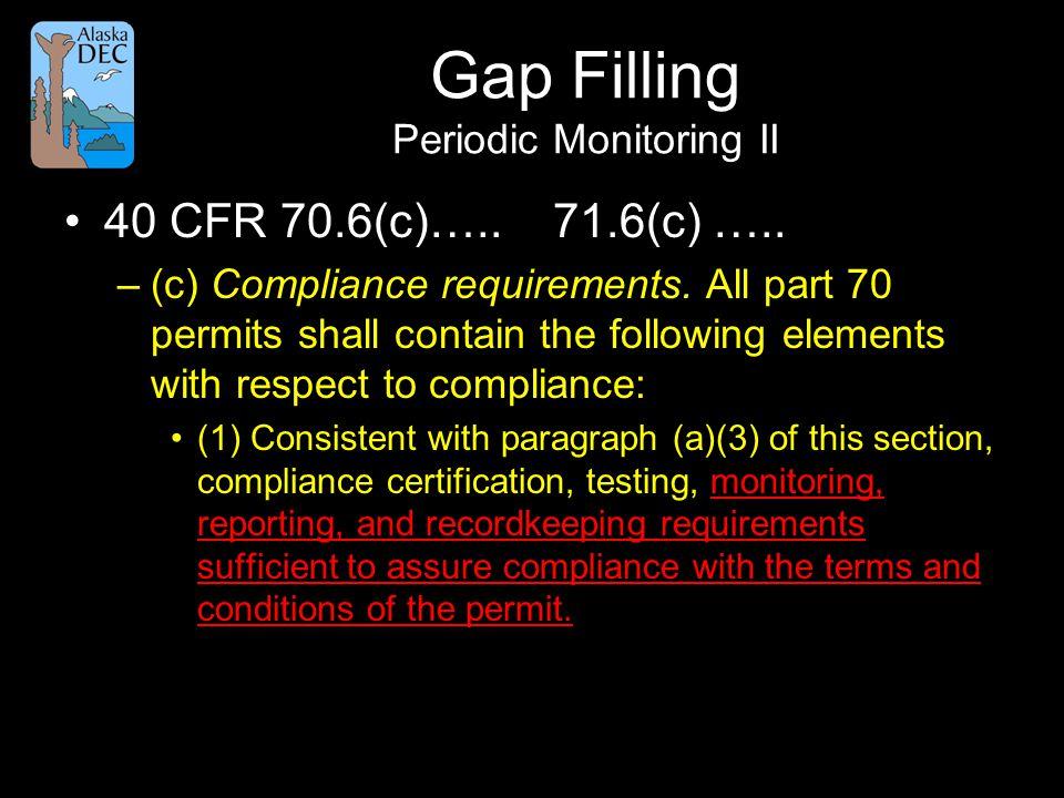 Gap Filling Periodic Monitoring II 40 CFR 70.6(c)…..