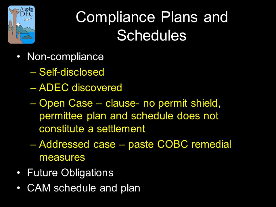 Compliance Plans and Schedules Non-compliance –Self-disclosed –ADEC discovered –Open Case – clause- no permit shield, permittee plan and schedule does