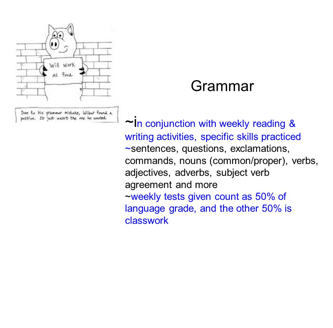 Grammar ~i n conjunction with weekly reading & writing activities, specific skills practiced ~sentences, questions, exclamations, commands, nouns (common/proper), verbs, adjectives, adverbs, subject verb agreement and more ~weekly tests given count as 50% of language grade, and the other 50% is classwork