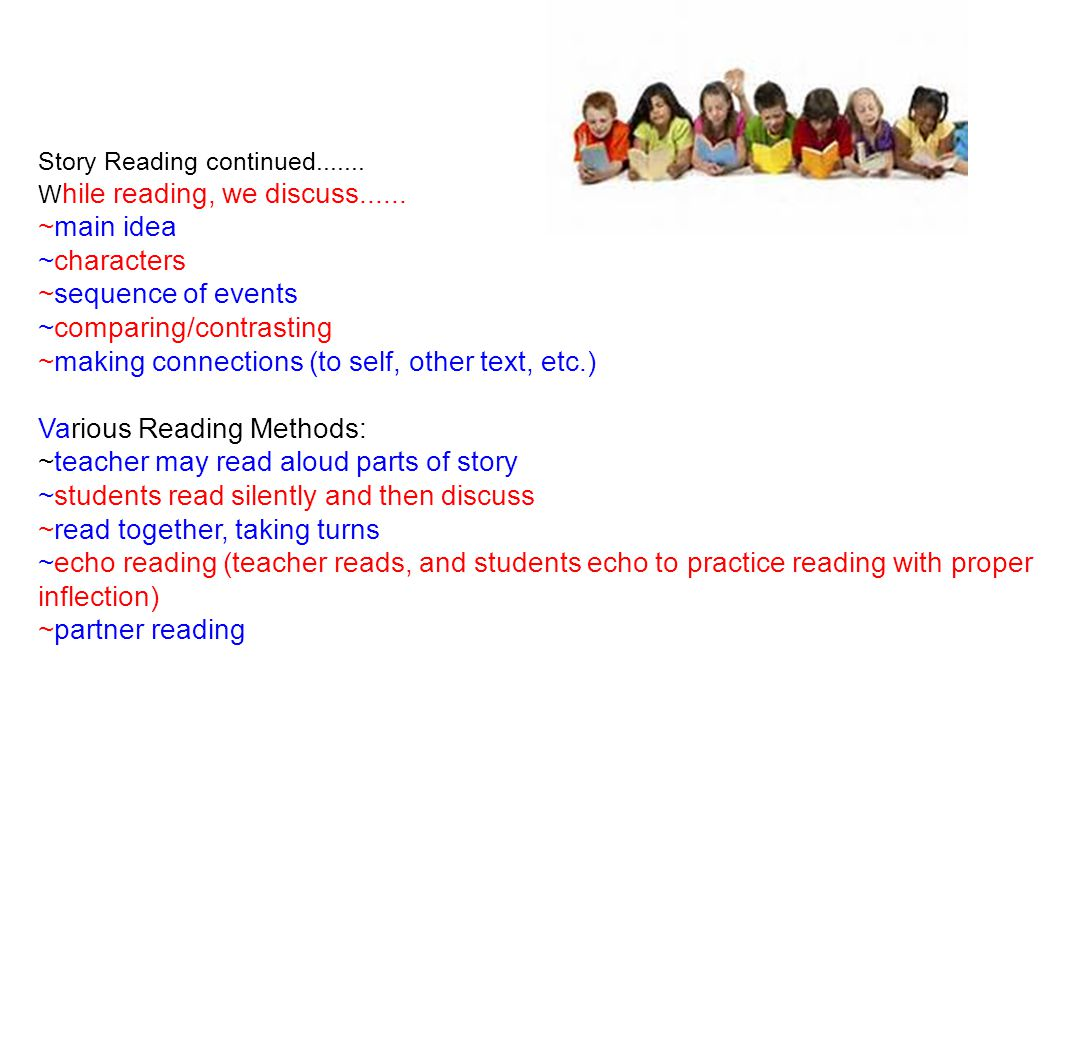 Reading Groups ~A baseline test is given to determine levels ~Reading Groups will be conducted by Mrs.