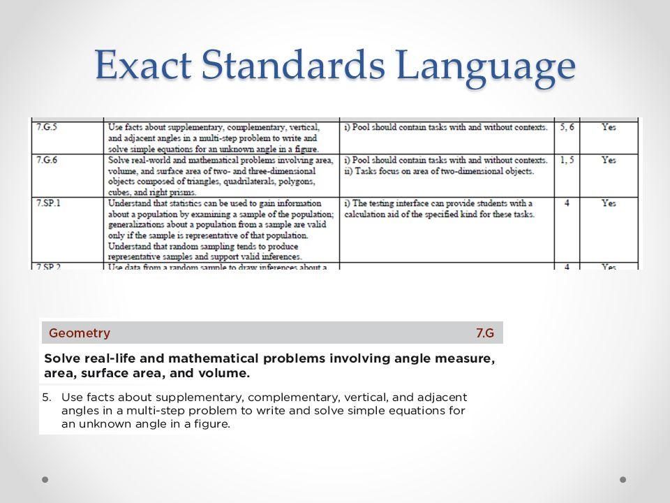 Exact Standards Language