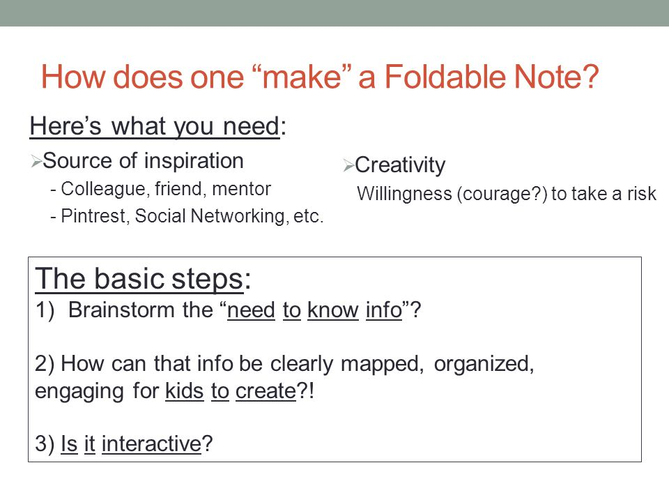 How does one make a Foldable Note.