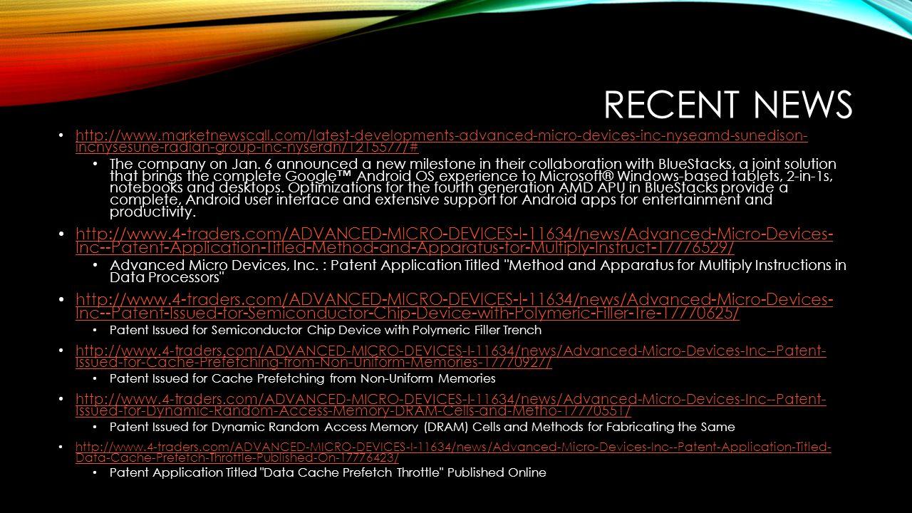 RECENT NEWS http://www.marketnewscall.com/latest-developments-advanced-micro-devices-inc-nyseamd-sunedison- incnysesune-radian-group-inc-nyserdn/12155