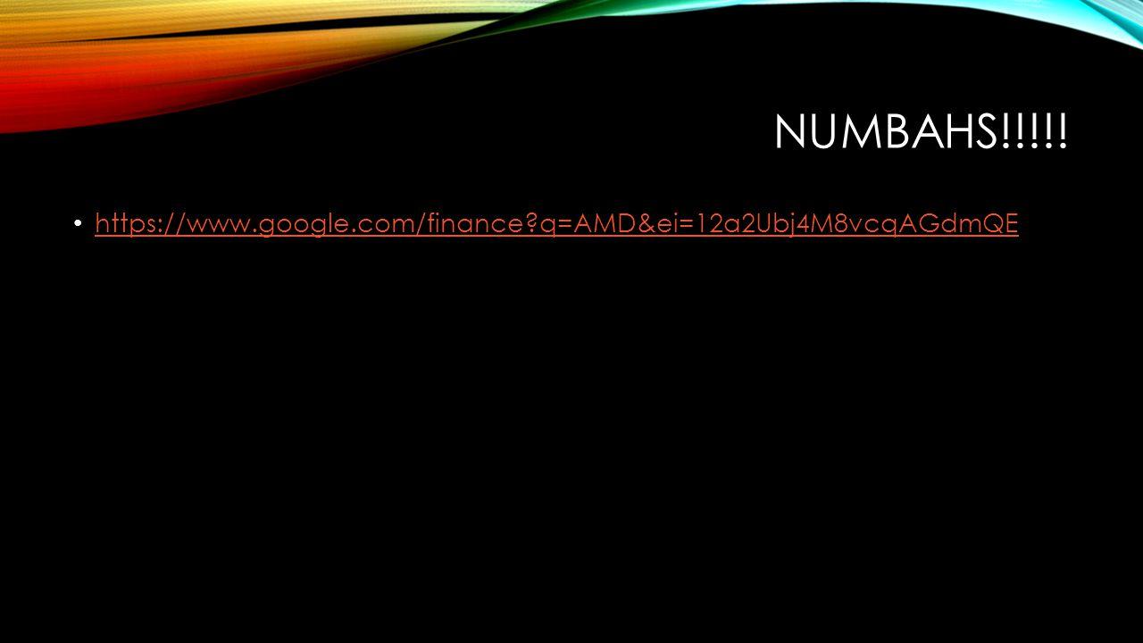 NUMBAHS!!!!! https://www.google.com/finance?q=AMD&ei=12a2Ubj4M8vcqAGdmQE