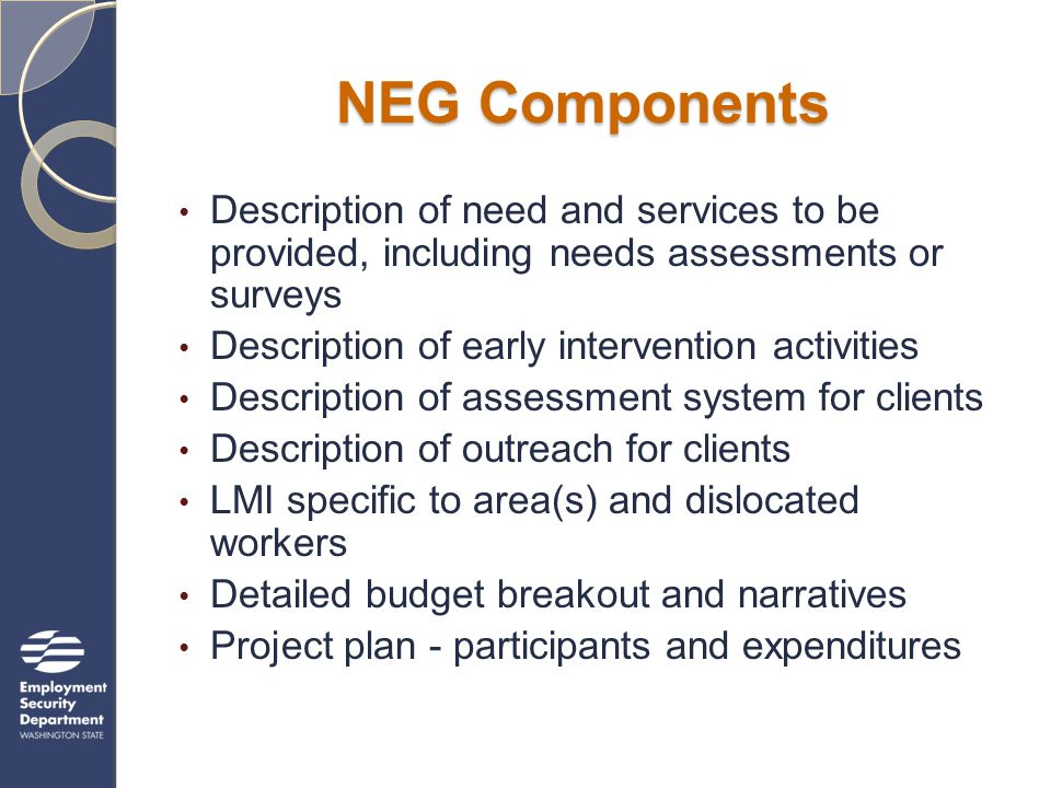 NEG Components Description of need and services to be provided, including needs assessments or surveys Description of early intervention activities Description of assessment system for clients Description of outreach for clients LMI specific to area(s) and dislocated workers Detailed budget breakout and narratives Project plan - participants and expenditures