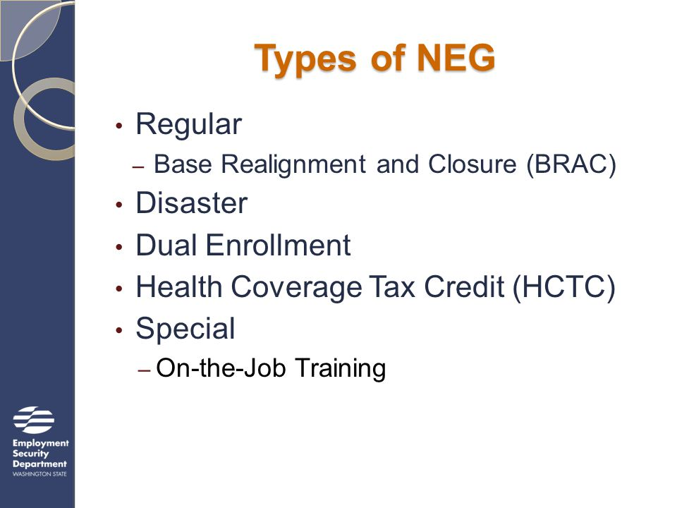 Regular NEGs Eligible Applicants State workforce agencies and local WIBs Local WIB consortia State consortia Indian and Native American Program Grantees National Farmworker Jobs Program Grantees Note: Exceptions in Regular NEG applicants discussed later in webinar