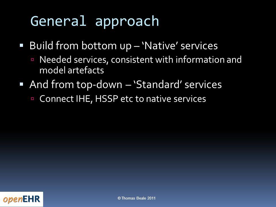 © Thomas Beale 2011 Services IHEIHE se tsts terminology f rere data java C# etc Querying HSSPHSSP NativeNative
