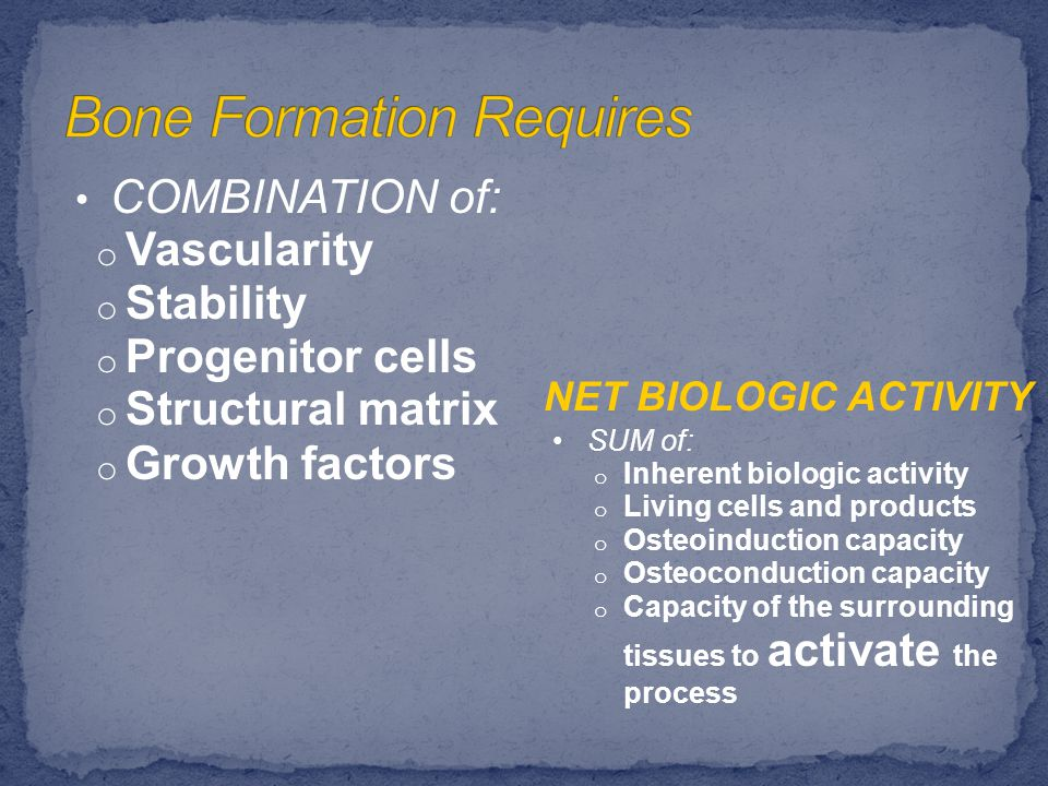 DEFICIENCIES of: o Vascularity o Stability o Progenitor cells o Structural matrix o Growth factors