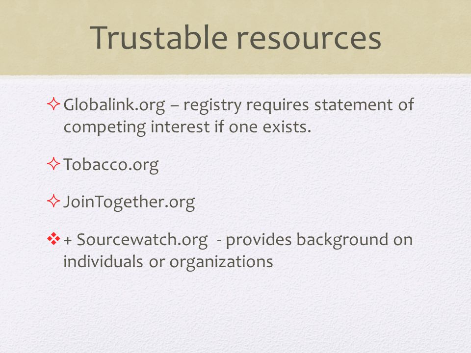 Trustable resources  Globalink.org – registry requires statement of competing interest if one exists.