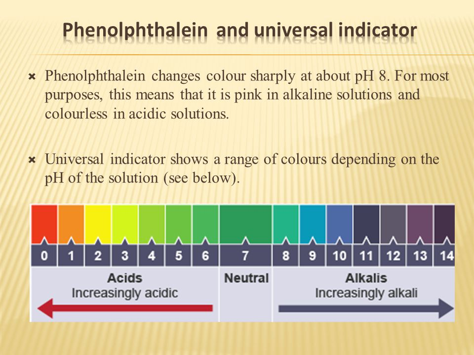  Phenolphthalein changes colour sharply at about pH 8.