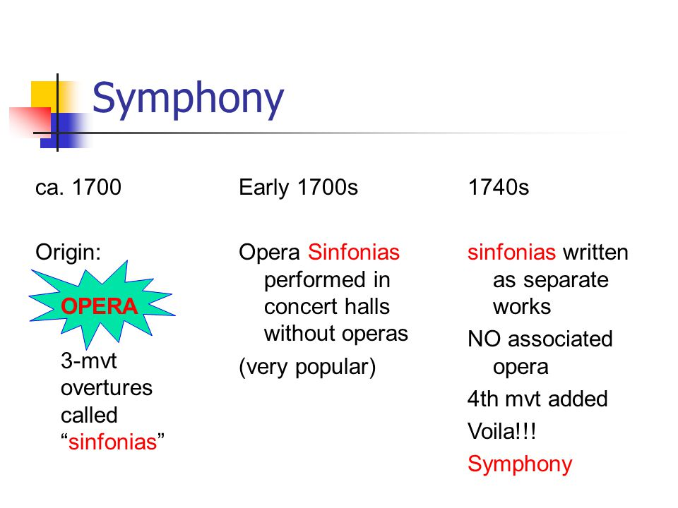 Typical symphony format MOODTEMPOFORMKEY Mvt 1seriousfastsonatatonic Mvt 2calm,slowsonata,NOT tonic expressiveth & var, ABA Mvt 3dance-likemoderateminuet &tonic or scherzoor fasttrio Mvt 4lighterfastsonata ortonic sonata-rondo Mvt 1