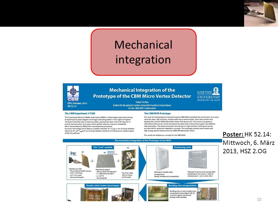 10 Mechanical integration Poster: HK 52.14: Mittwoch, 6. März 2013, HSZ 2.OG