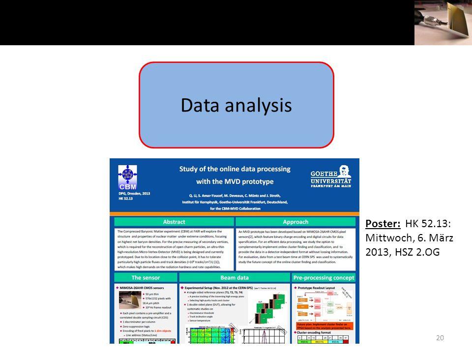 20 Data analysis Poster: HK 52.13: Mittwoch, 6. März 2013, HSZ 2.OG