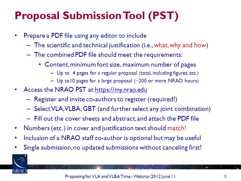 VLA/VLBA Proposals and Students Consider submitting a deadline early – Use referee feedback to prepare, re-submit improved proposal Are the proposed observations for a thesis .