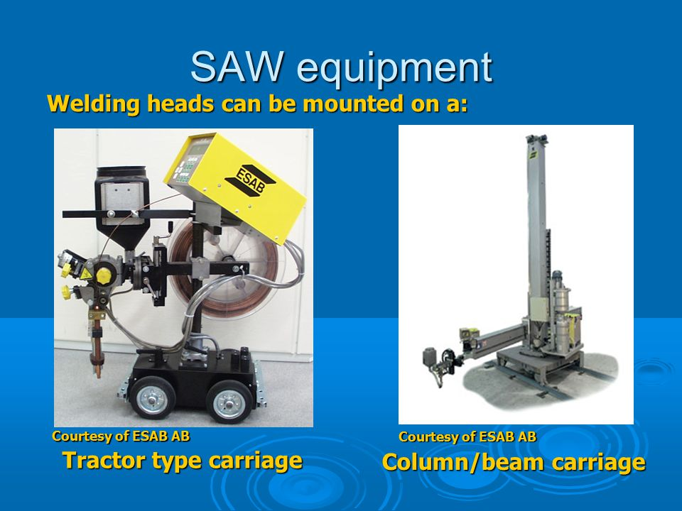 SAW equipment Welding heads can be mounted on a: Tractor type carriage Column/beam carriage Courtesy of ESAB AB