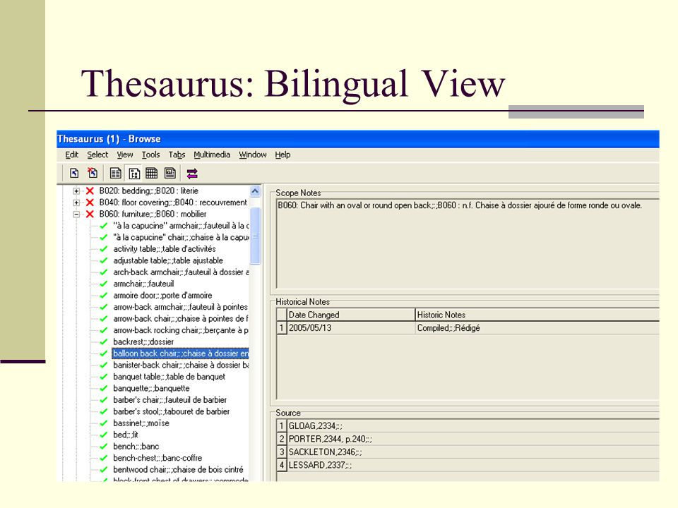 Thesaurus: Bilingual View