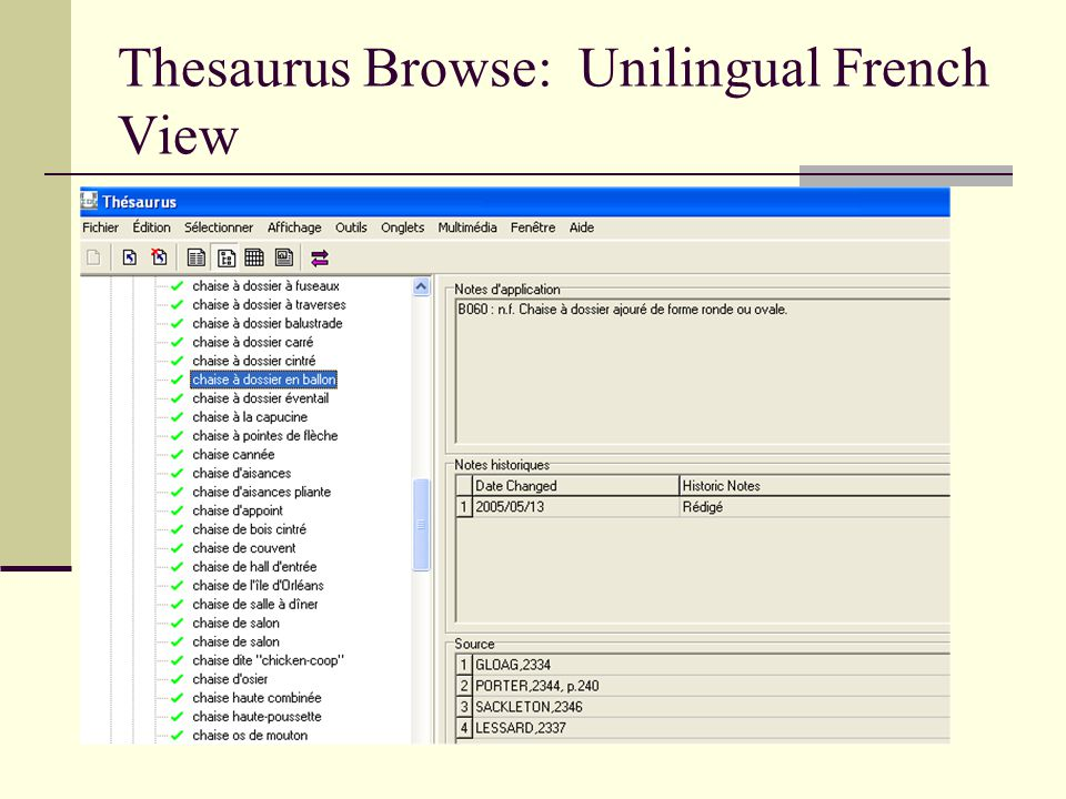 Thesaurus Browse: Unilingual French View