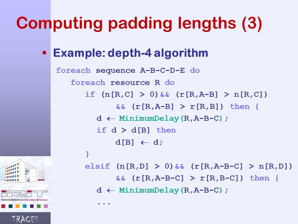 TRACES Computing padding lengths (3)  Example: depth-4 algorithm foreach sequence A-B-C-D-E do foreach resource R do if (n[R,C] > 0)&& (r[R,A-B] > n[R,C]) && (r[R,A-B] > r[R,B]) then { d  MinimumDelay(R,A-B-C); if d > d[B] then d[B]  d; } elsif (n[R,D] > 0)&& (r[R,A-B-C] > n[R,D]) && (r[R,A-B-C] > r[R,B-C]) then { d  MinimumDelay(R,A-B-C);...