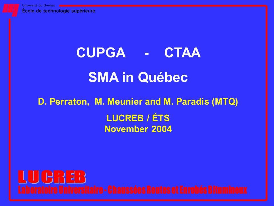 CUPGA - CTAA SMA in Québec D. Perraton, M. Meunier and M. Paradis (MTQ) LUCREB / ÉTS November 2004