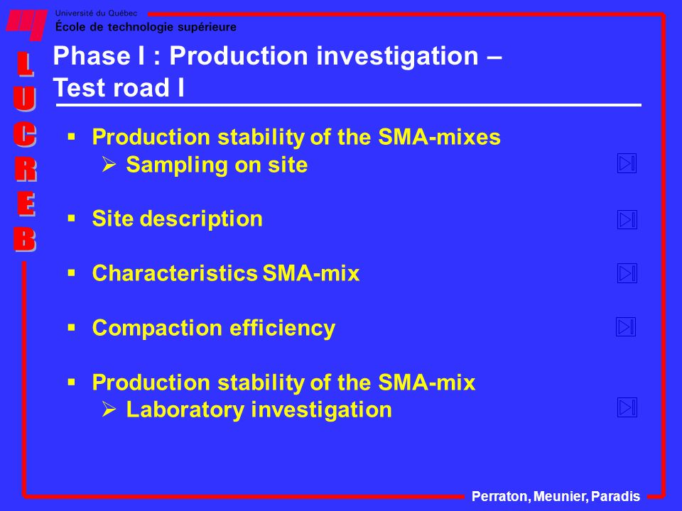  Production stability of the SMA-mixes  Sampling on site  Site description  Characteristics SMA-mix  Compaction efficiency  Production stability of the SMA-mix  Laboratory investigation Perraton, Meunier, Paradis Phase I : Production investigation – Test road I