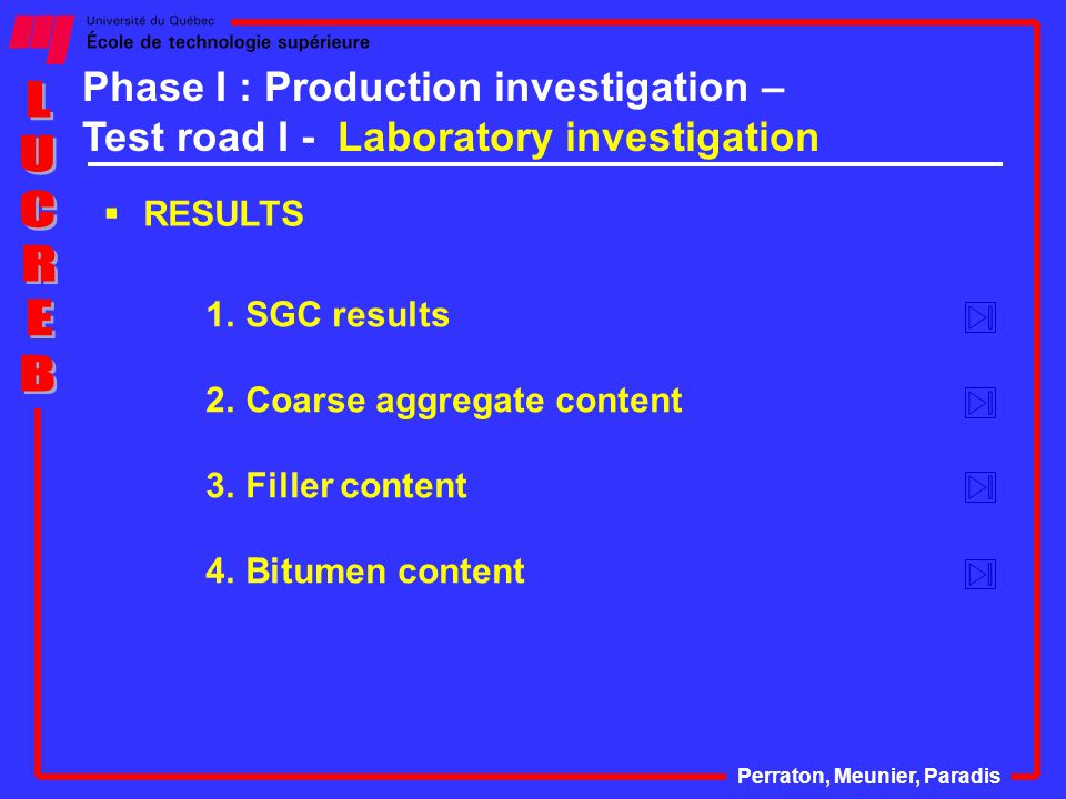  RESULTS Perraton, Meunier, Paradis 1.SGC results 2.Coarse aggregate content 3.Filler content 4.Bitumen content Phase I : Production investigation – Test road I - Laboratory investigation