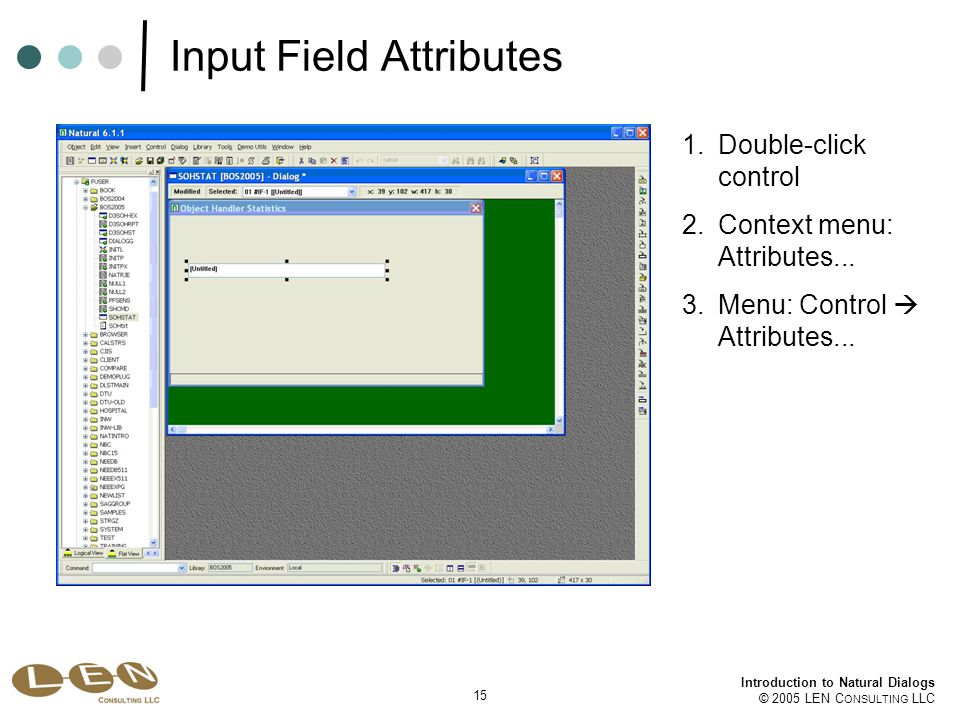 15 Introduction to Natural Dialogs © 2005 LEN C ONSULTING LLC Input Field Attributes 1.Double-click control 2.Context menu: Attributes...