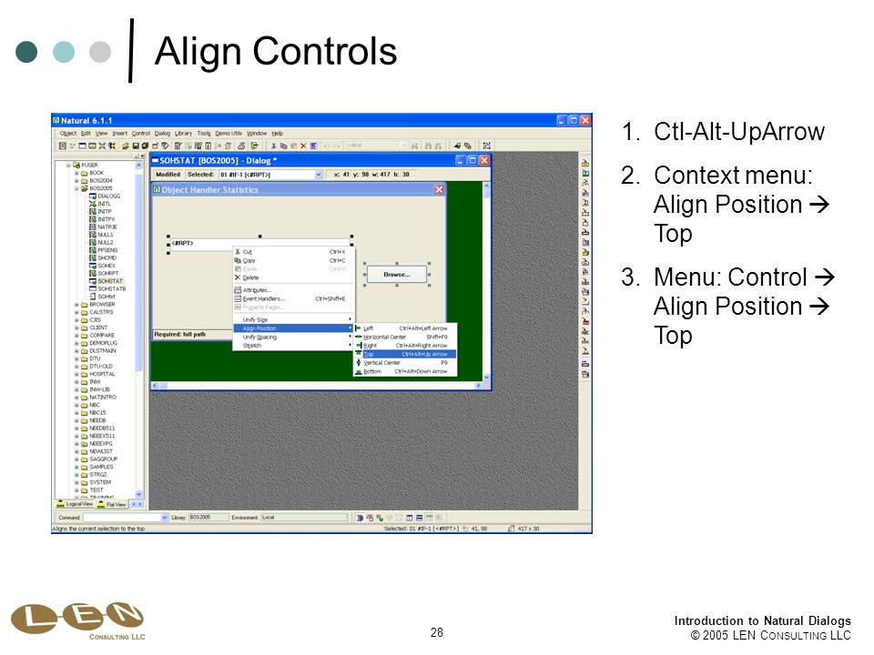 28 Introduction to Natural Dialogs © 2005 LEN C ONSULTING LLC Align Controls 1.Ctl-Alt-UpArrow 2.Context menu: Align Position  Top 3.Menu: Control  Align Position  Top