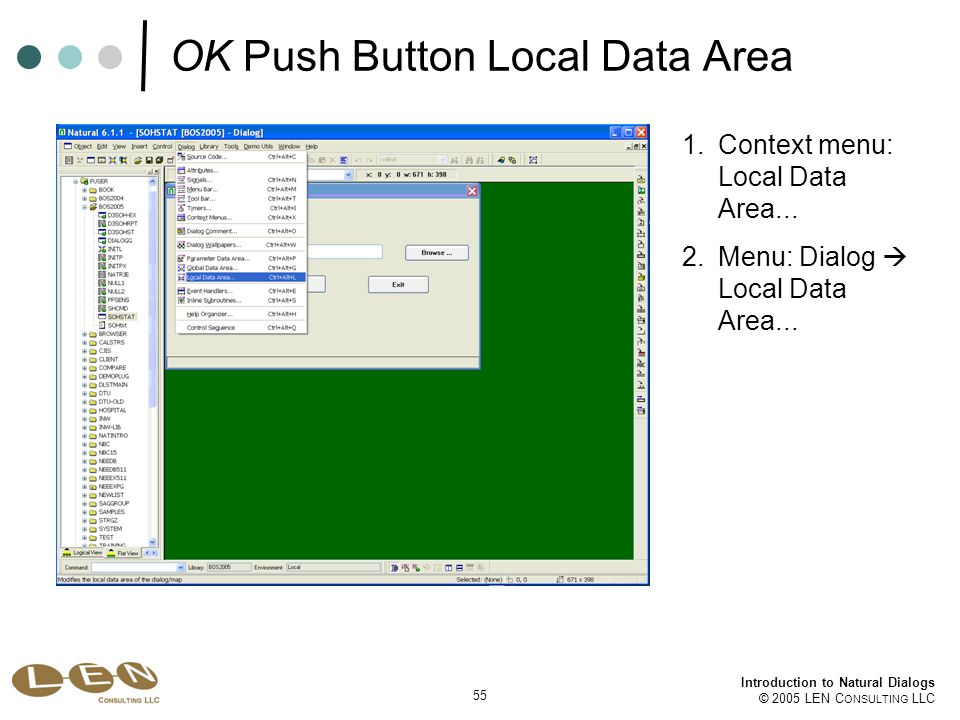 55 Introduction to Natural Dialogs © 2005 LEN C ONSULTING LLC 1.Context menu: Local Data Area...