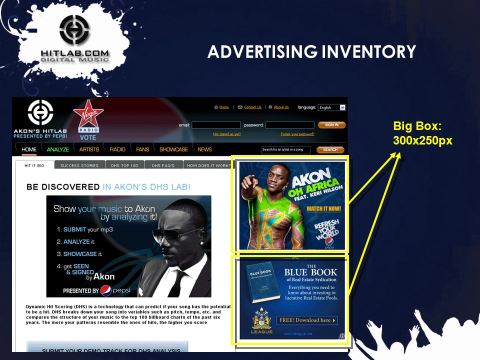 15 ADVERTISING INVENTORY Big Box: 300x250px