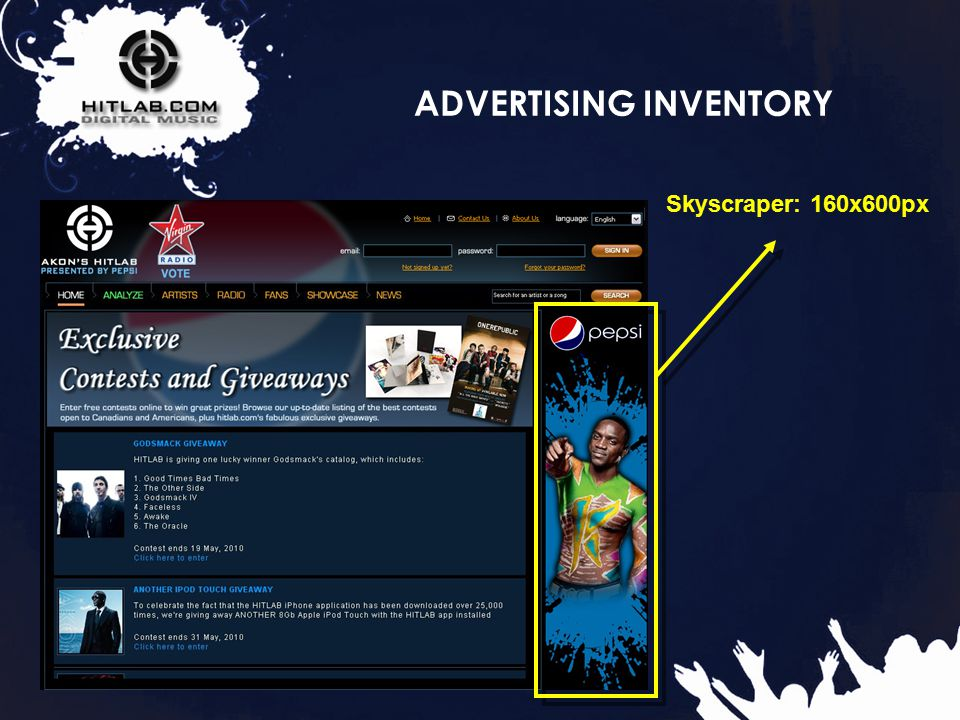 16 ADVERTISING INVENTORY Skyscraper: 160x600px