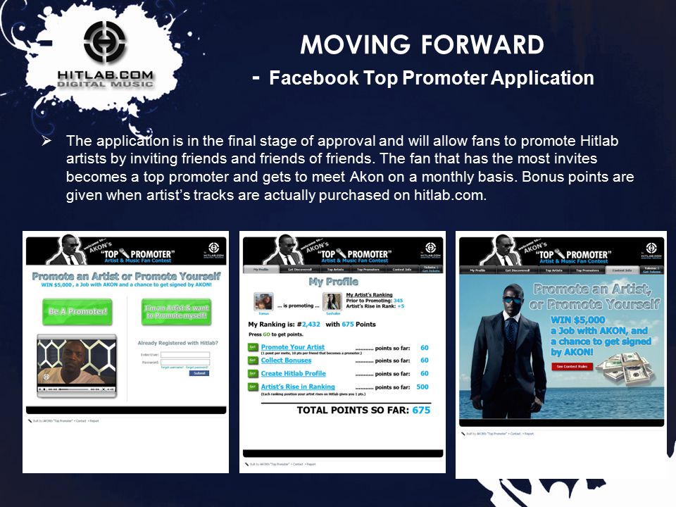 37 MOVING FORWARD - Facebook Top Promoter Application  The application is in the final stage of approval and will allow fans to promote Hitlab artists by inviting friends and friends of friends.
