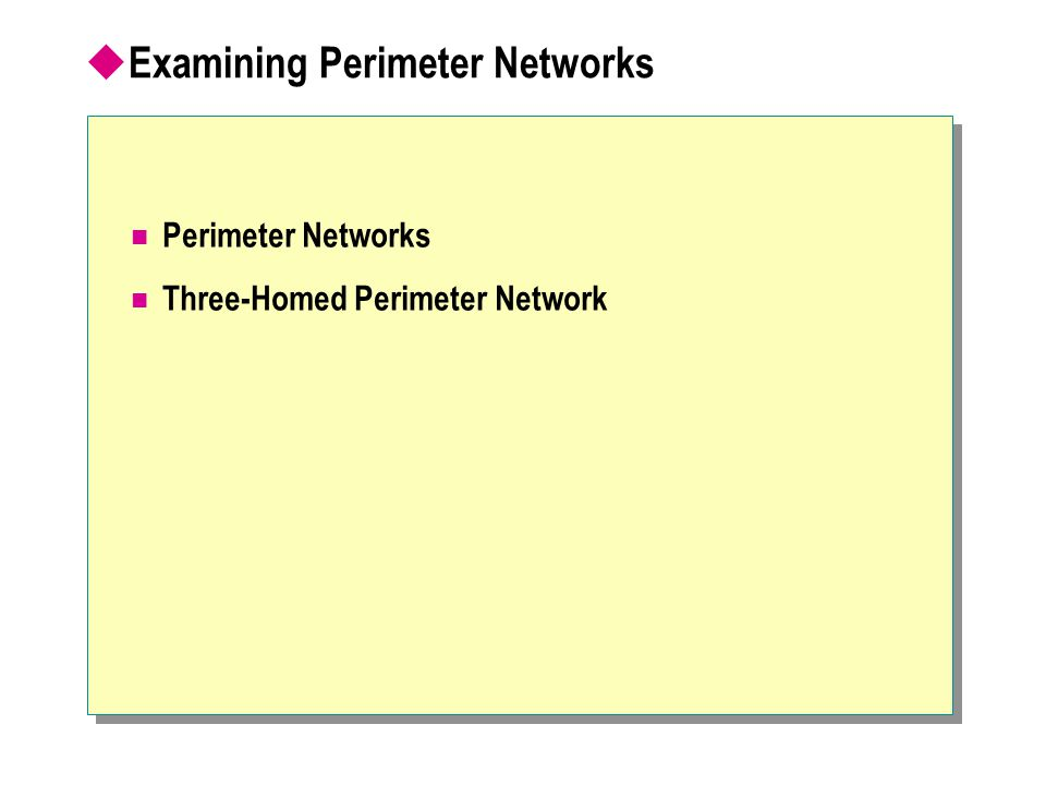  Examining Perimeter Networks Perimeter Networks Three-Homed Perimeter Network