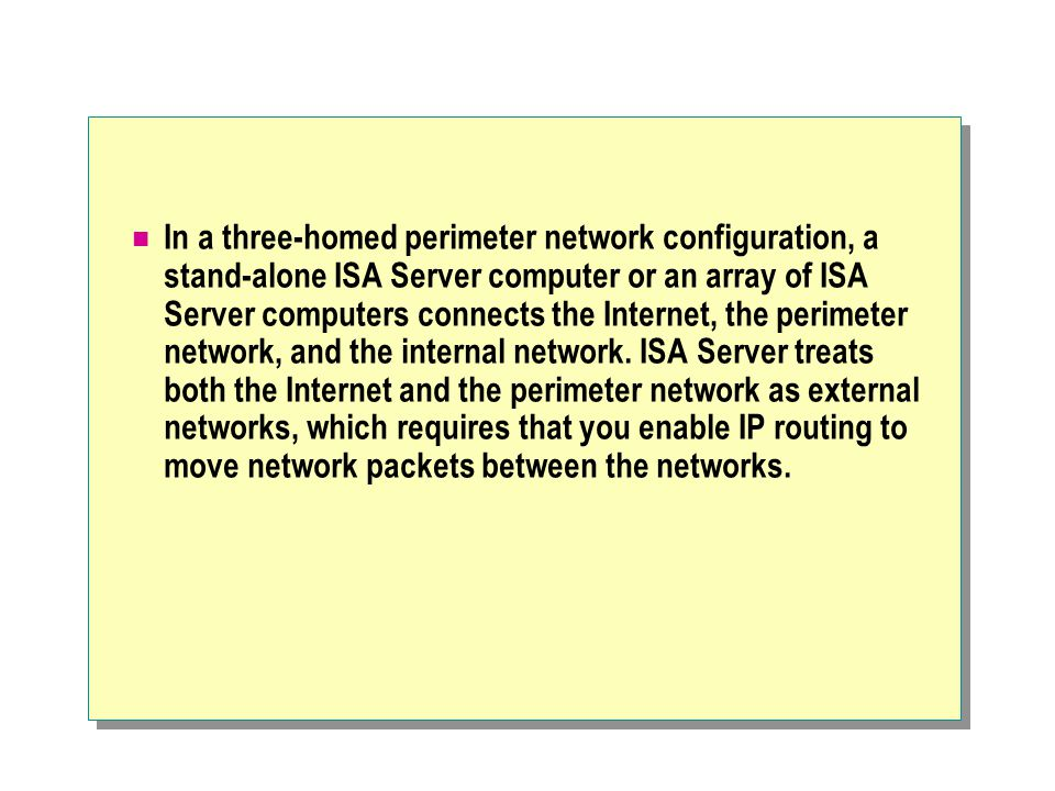 In a three-homed perimeter network configuration, a stand-alone ISA Server computer or an array of ISA Server computers connects the Internet, the perimeter network, and the internal network.