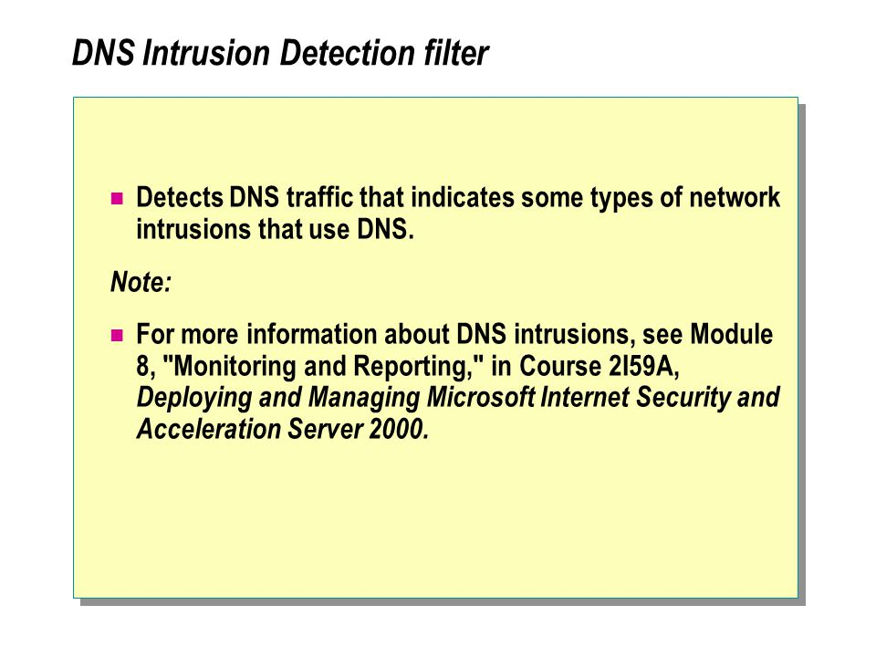 DNS Intrusion Detection filter Detects DNS traffic that indicates some types of network intrusions that use DNS.