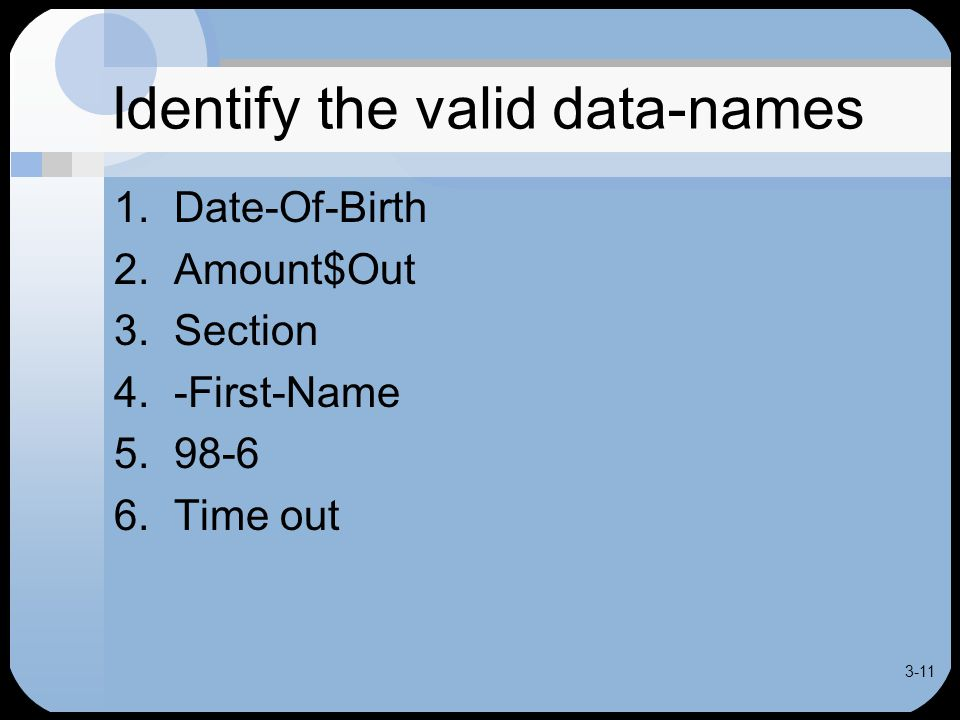 3-11 Identify the valid data-names 1. Date-Of-Birth 2.