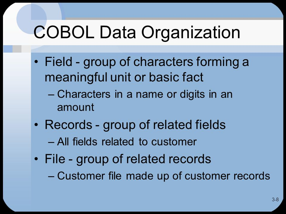 3-19 Defining a Record Each FD followed by record description entries for the file Data grouped in COBOL by levels Record-name defined at the 01 level Considered highest level of data Fields within a record defined at subordinate level with level numbers from 02 to 49