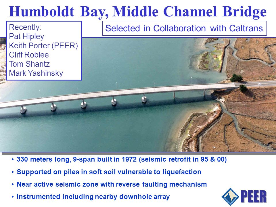 Humboldt Bay, Middle Channel Bridge 330 meters long, 9-span built in 1972 (seismic retrofit in 95 & 00) Supported on piles in soft soil vulnerable to liquefaction Near active seismic zone with reverse faulting mechanism Instrumented including nearby downhole array Selected in Collaboration with Caltrans Recently: Pat Hipley Keith Porter (PEER) Cliff Roblee Tom Shantz Mark Yashinsky