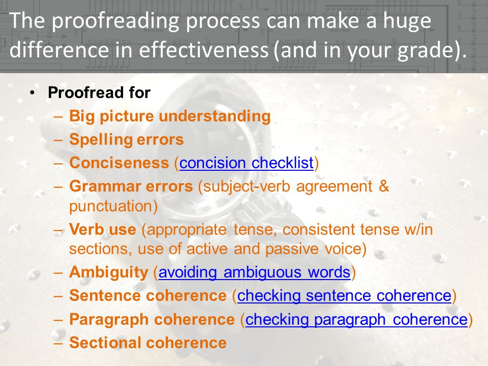 The proofreading process can make a huge difference in effectiveness (and in your grade).