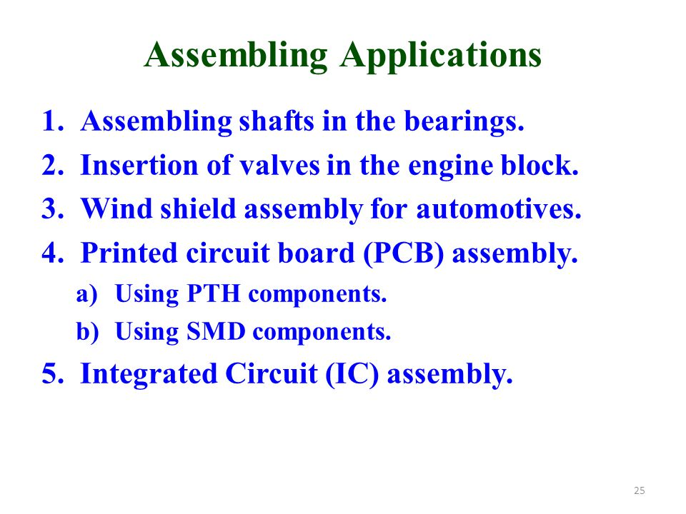 Assembling Applications 1.Assembling shafts in the bearings.