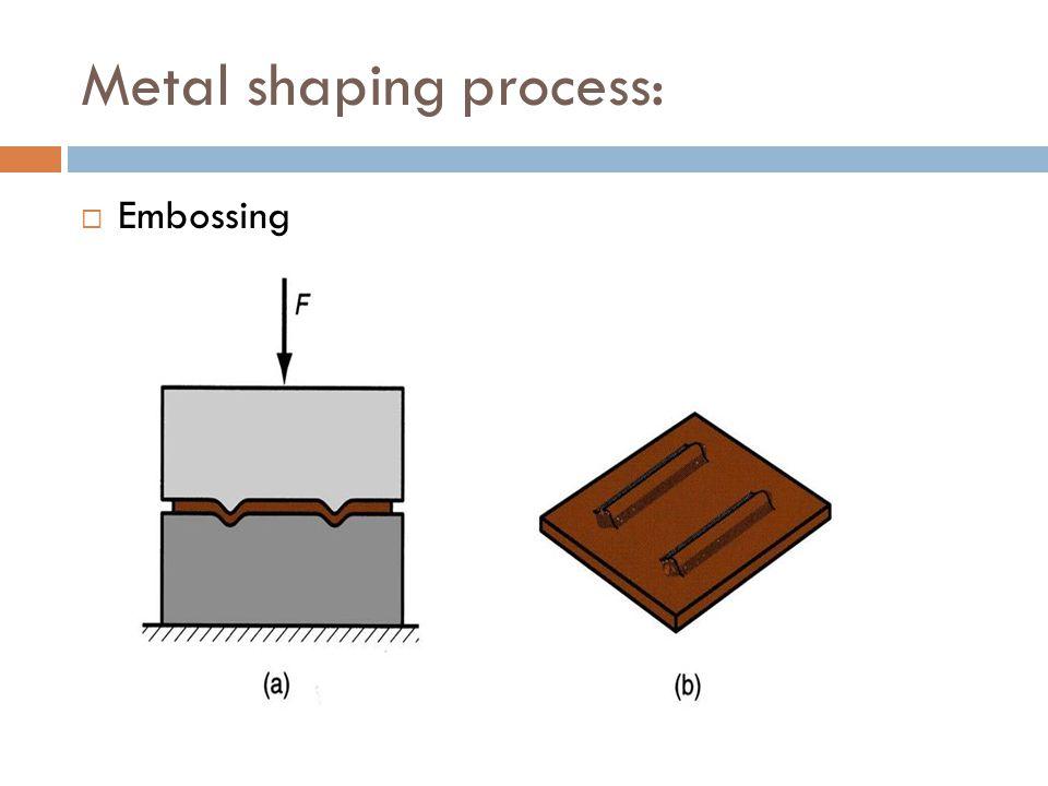 Metal shaping process:  Embossing
