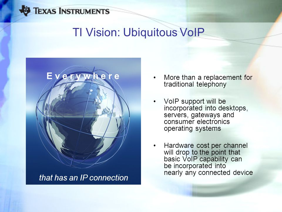 TI Vision: Ubiquitous VoIP More than a replacement for traditional telephony VoIP support will be incorporated into desktops, servers, gateways and co
