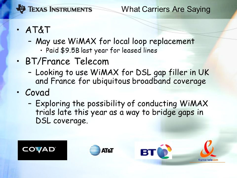 What Carriers Are Saying AT&T –May use WiMAX for local loop replacement Paid $9.5B last year for leased lines BT/France Telecom –Looking to use WiMAX