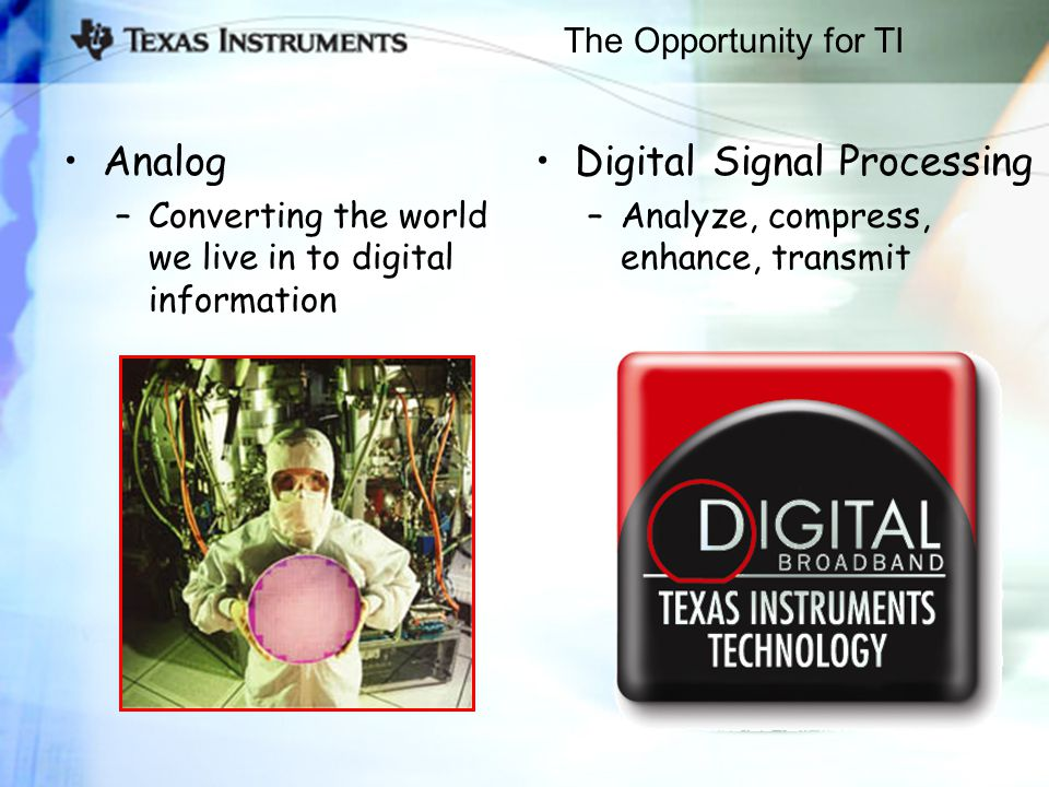 The Opportunity for TI Analog –Converting the world we live in to digital information Digital Signal Processing –Analyze, compress, enhance, transmit