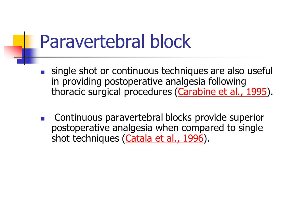 single shot or continuous techniques are also useful in providing postoperative analgesia following thoracic surgical procedures (Carabine et al., 1995).Carabine et al., 1995 Continuous paravertebral blocks provide superior postoperative analgesia when compared to single shot techniques (Catala et al., 1996).Catala et al., 1996