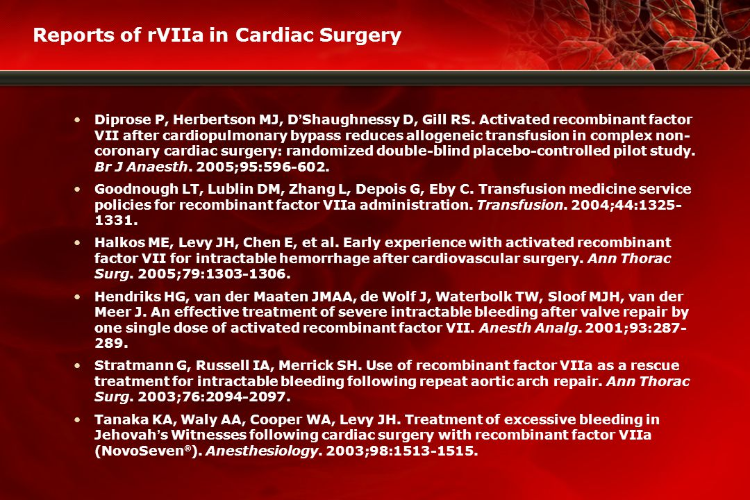 Reports of rVIIa in Cardiac Surgery Diprose P, Herbertson MJ, D ' Shaughnessy D, Gill RS.