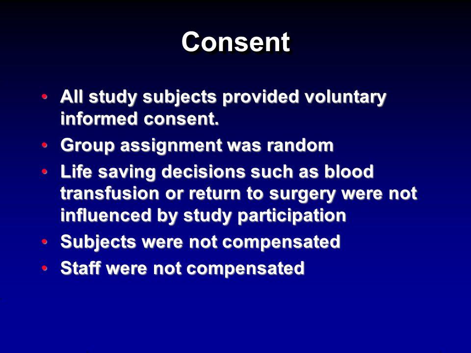 ConsentConsent All study subjects provided voluntary informed consent.All study subjects provided voluntary informed consent. Group assignment was ran