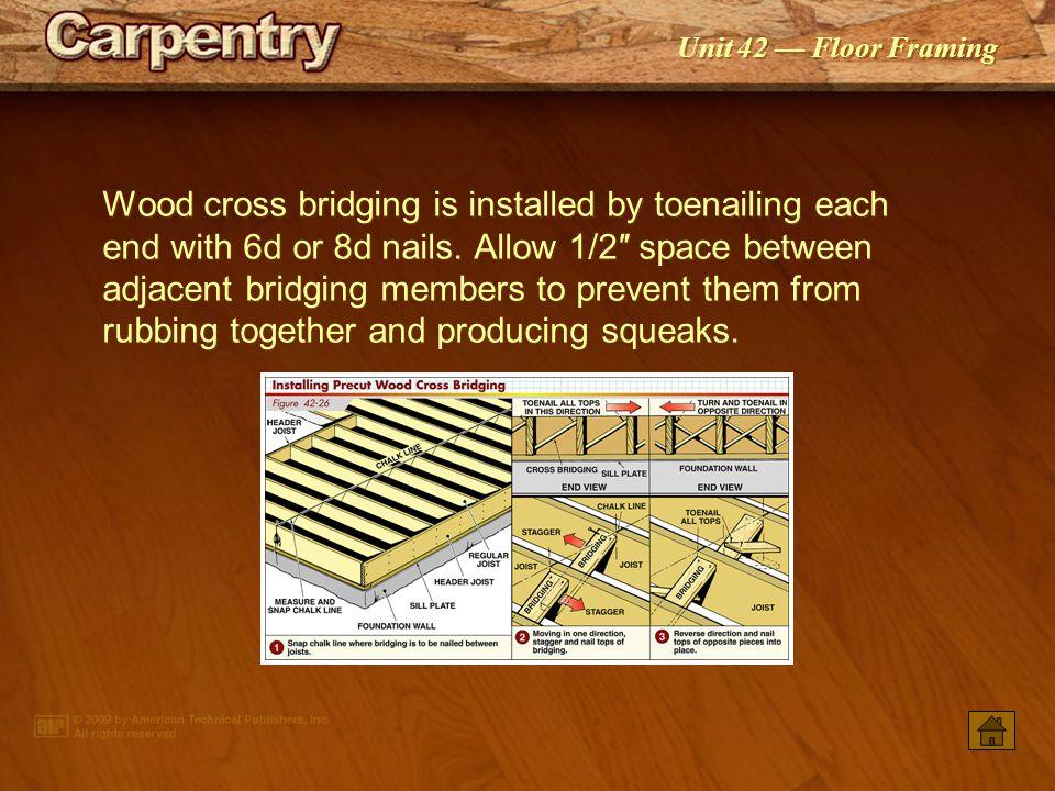 Unit 42 — Floor Framing Cross bridging is precut to fit between the joist spans.